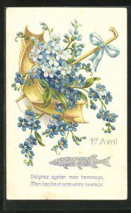 Präge-AK Silberner Fisch und Blumen im Schirm, Gruss zum 1. April