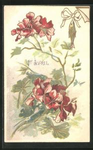 Präge-AK Gruss zum 1. April, Fisch mit Schleife neben roten Blüten