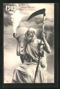 AK Alter Mann mit Sense und Pfeife, Jahreszahl 1905 steigt aus dem Rauch empor