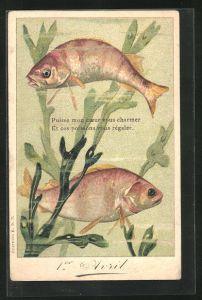 AK Fische schwimmen zwischen Schwimmpflanzen, Gruss zum 1. April