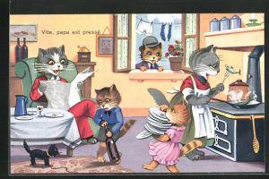 AK Katzenfamilie bei der Hausarbeit, vermenschlichte Tiere