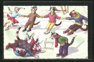 AK Katzen beim Schlittschuhlaufen, vermenschlichte Tiere