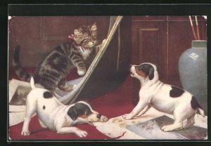 Künstler-AK Getigerte Katze und Hundewelpen beim Herumtollen
