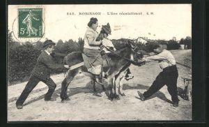 AK Robinson, L`ane récalcitrant, Frauen auf störrischen Eseln