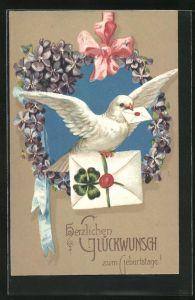 Präge-AK Weisse Taube bringt Glückwünsche zum Geburtstag
