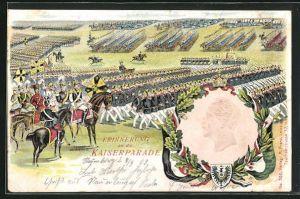 Präge-AK Erinnerung an die Kaiserparade, Portrait Kaiser Wilhelm II.