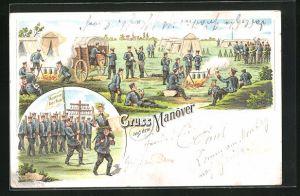 Lithographie Gruss aus dem Manöver, Soldaten in Uniformen im Lager u. mit Fahne Reserve hat Ruh