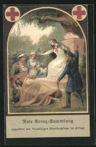 Künstler-AK A. v. Roessler: Rote Kreuz-Sammlung zugunsten der freiwilligen Krankenpflege im Kriege