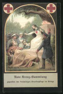 Künstler-AK A. v. Roessler: Rote Kreuz-Sammlung zugunsten der freiw. Krankenpflege im Kriege