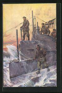 Künstler-AK Willy Stoewer: Deutsche U-Boot Besatzung in Turm bei stürmischer See und dramatischen Himmel