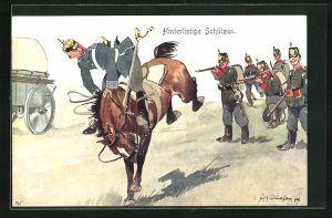 Künstler-AK Fritz Schönpflug: hinterlistige Schützen, Soldaten schiessen auf ein Pferd