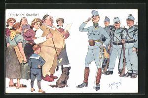 Künstler-AK Fritz Schönpflug: ein feines Quartier, Dorfbewohner im Gespräch mit Soldaten