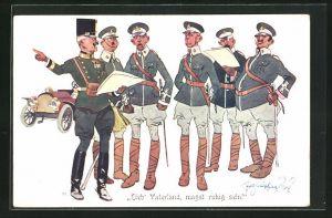 Künstler-AK Fritz Schönpflug: Lieb'Vaterland, magst ruhig sein!, Soldaten im Gespräch