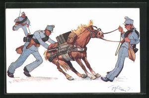 Künstler-AK Fritz Schönpflug: Soldaten versuchen ein störrisches Pferd zum Laufen zu bewegen