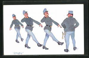 Künstler-AK Fritz Schönpflug: Soldaten marschieren im Gleichschritt