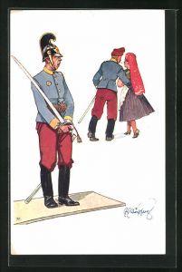 Künstler-AK Fritz Schönpflug: Soldat beobachtet den Kameraden, der sich mit einer Frau in Tracht entfernt