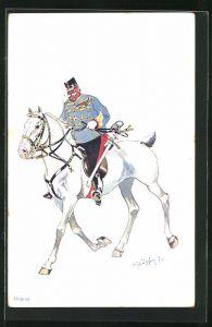 Künstler-AK Fritz Schönpflug: Soldat mit Degen reitet auf seinem Schimmel