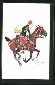 Künstler-AK Fritz Schönpflug: Soldat galoppiert mit seinem Pferd