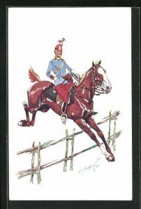 Künstler-AK Fritz Schönpflug: Soldat nimmt mit seinem Pferd ein Hindernis