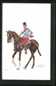 Künstler-AK Fritz Schönpflug: Soldat mit rot-weisser Schärpe zu Pferde
