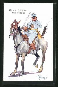 Künstler-AK Fritz Schönpflug: Soldat mit Degen in blassblauer Uniform zu Pferde