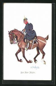 Künstler-AK Fritz Schönpflug: Major mit Pickelhaube und Degen zu Pferde