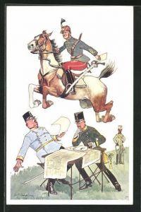 Künstler-AK Fritz Schönpflug: K.u.K. Husar springt mit Pferd über Offiziere