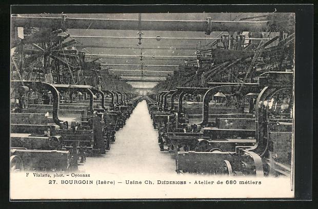 AK Bourgoin, Usine Ch. Diederichs, Atelier de 680 metiers, Innenansicht