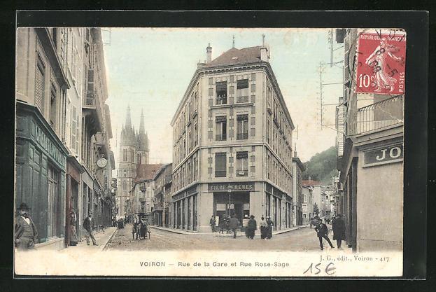 AK Voiron, Rue de la Gare et Rue Rose-Sage, Strassenpartien