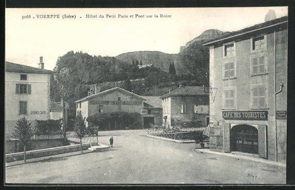 AK Voreppe, Hotel du Petit Paris et Pont sur la Roize