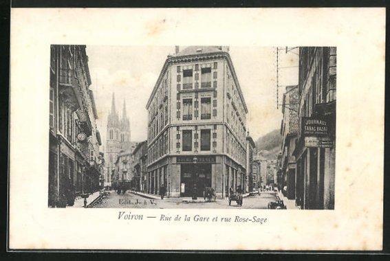 AK Voiron, Rue de la Gare et Rue Rose-Sage avec Boutiques et Eglise