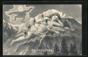 AK Berg mit Gesicht / Berggesichter, Frau nur mit Tüchern verhüllt wird von Bergsteigern erklommen, Die Jungfrau
