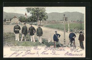 AK Saales, Vosges, Deutsch-Französische Grenze mit Grenzsoldaten