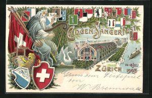 Präge-AK Zürich, Eidgen. Sängerfest 1905, Festhütte, Alter Mann mit Harfe u. Schweizer Flagge