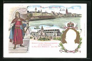 Präge-AK Frankfurt a. M., Ortspartie, Festhalle, Portrait Kaiser Wilhelm II., Wettstreit deutscher Männergesangsvereine