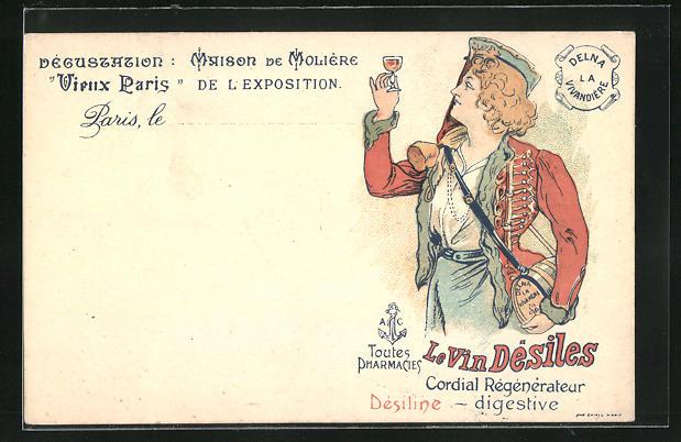 AK Vieux Paris, Degustation Maison de Moliere, Reklame Le Vin Desiles, Cordial Regenerateur