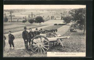 AK Artilleriesoldaten in Uniformen mit Kanone, La Grande Guerre 1914