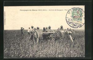 AK Maroc, Artillerie de Campagne, Artilleriesoldaten in Uniformen mit Kanone