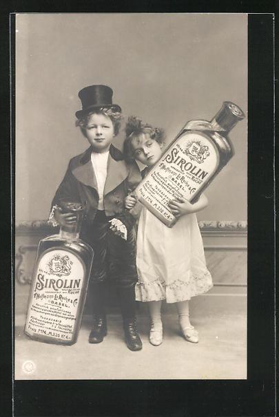 Foto-AK Kinder mit Sirolin-Flaschen, Reklame