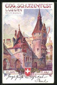 Lithographie Luzern, Eidgen. Schützenfest 1901, Zeitturm und grosse Festhalle