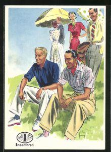 AK Reklame für Indanthrenfarbige Stoffe, Herren in leichter Sommermode