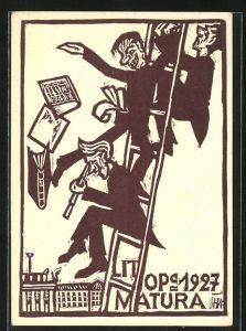 Künstler-AK Absolvia Matura 1927, Feiernde Schüler auf einer Leiter