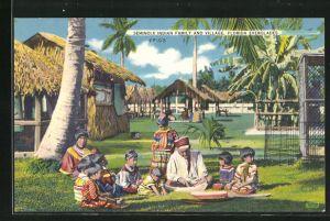 AK Indianer vom Stamm der Seminolen in ihrem Dorf