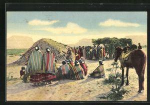 AK Indianer Squaws vom Stamm der Navajo beim Tanz