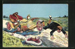 Künstler-AK Ermenegildo Carlo Donadini: Schwerer Autounfall durch Achsbruch