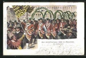 Künstler-AK Anton Hoffmann - München: Der Schäfflertanz 1900 in München, Der Aufmarsch