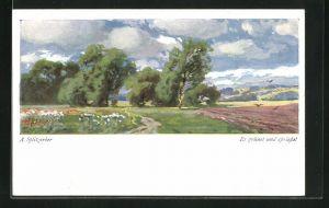 Künstler-AK August Splitgerber: Blühende Wiese und Vögel über Feld mit Bäumen und Wolken