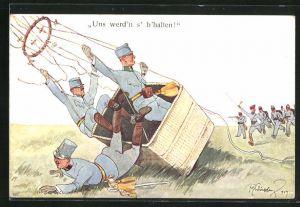 Künstler-AK Fritz Schönpflug: französische Soldaten in Ballongondel landen vor stürmenden Soldaten