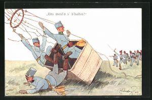 Künstler-AK Fritz Schönpflug: französische Soldaten landen in Ballongondel vor heranstürmenden Soldaten