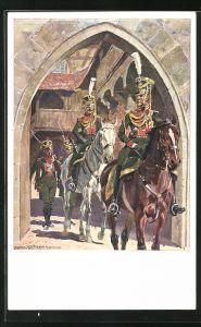 Künstler-AK Anton Hoffmann - München: K. B. Gendarmerie 1813, beritttene Soldaten reiten durch Tor